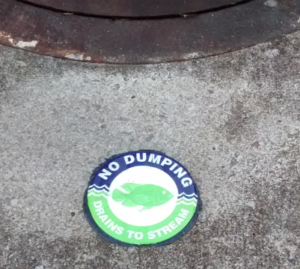 Tagged storm drain in Shirway Ct.
